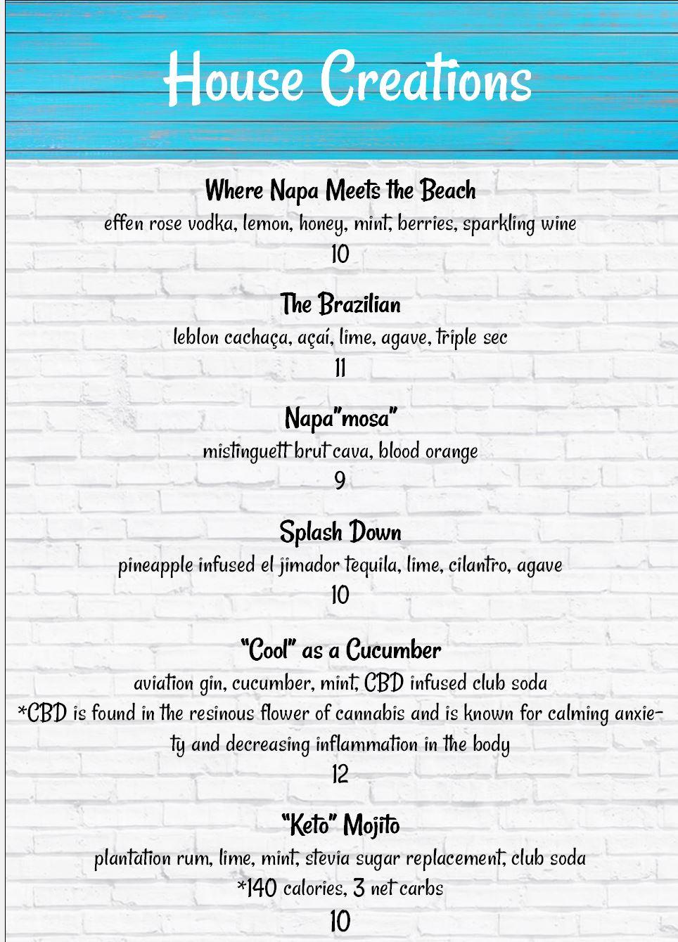 Cocoa Beach FL Restaurant Bar Menu